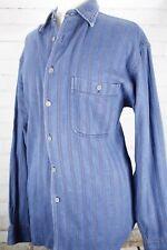 BURTONS Denim Button Down Shirt Jeans Top Blue Striped Womens M 100% Cotton