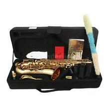 LADE Brass Bb Tenor Saxophone Sax Carved Pattern Wind Instrument with Case S8U8