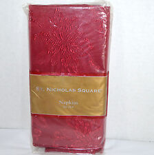 New St. Nicholas Square 4 Cloth Napkins Red Baroque Poinsettia Damask Christmas