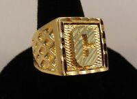 MENS 14KT GOLD EP BLING  LETTER C INITIAL HIP HOP SQUARED RING - SIZES 8-13
