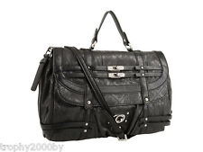 NEW GUESS BLACK LARGE LIVELY FLAP SATCHEL HANDBAG BAG