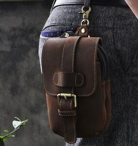 Men's Vintage Genuine Leather Cowhide Cell Phone Belt Pouch Hook Fanny Waist Bag