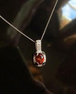 NEW Rare, Natural Red Citrine, Zircon & Black Spinel Prong Set Platinum Necklace