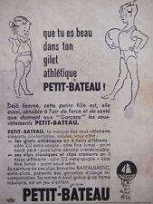 PUBLICITÉ PRESSE 1954 SOUS-VÊTEMENTS PETIT-BATEAU GILET ATHLÉTIQUE - ADVERTISING
