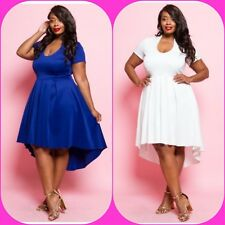 Plus Size White Short Sleeved Hi Lo Pleated Knee Length Skater Dress1X 2X 3X