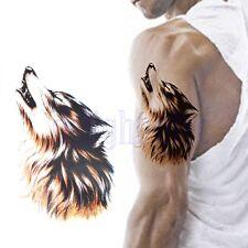 Lupo Capo Trasferimento Tatuaggio Impermeabile Temporaneo Adesivo Per Uomo DB