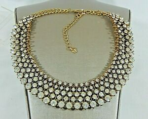 AUTHENTIC ZARA 5 ROW CRYSTAL 5 TIER BIB NECKLACE (AS SEEN ON DUCHESS KATE) IN EC