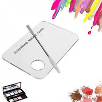 Acrylic Cosmetic Nail Art Makeup Polish Mixing Palette Stainless Steel Spatula !