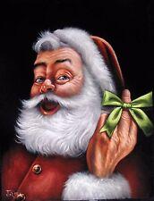 Santa Claus Portrait Finger Christmas Coca Cola Original Oil Painting HJ0059