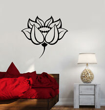 Vinyl Wall Decal Lotus Floral Room Design Meditation Yoga Stickers (ig3349)