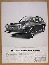 1971 Volkswagen VW 411 Sedan 4-door car photo '16 Options' vintage print Ad