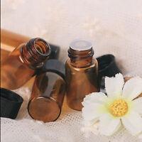 120pcs 1ml (1/4 dram) Amber Glass Essential Oil Bottle, Orifice Reducer & cap