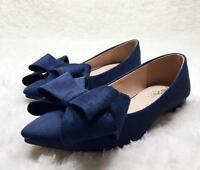 Womens Flat Heel Loafers Suede Pointed Toe Bow Knot Oxfords Slip On Shoes 2019