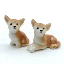 2 Brown Chihuahua Dog Ceramic Figurine Miniature Statue - CDG099
