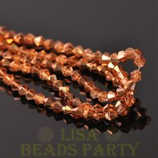 New Arrival  200pcs 4mm Faceted Bicone Loose Spacer Glass Beads Rose Gold