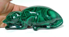 "6.06"" BEAUTIFUL POLISHED MALACHITE DOG ANIMAL CARVING CONGO MC-189"