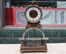 European Retro Bronze cloisonne eagle Mechanical clockwork Table Clock Timepiece
