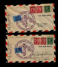 TWO APR 1 1931 First Flight Covers RALEIGH NC AM#19 - Both Signed by Postmaster