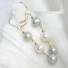 8-9mm White And Gray Mashup Pearl Earrings 14k Gold Hook Beads AAA Clasp Natural