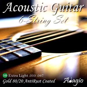 ADAGIO PRO - Coated Acoustic Guitar Strings - Light Gauge 10-47 - Steel Core