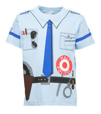 Kinder Uniform Kostüm T-Shirt * Polizei Blau 92/98 bis 140/146