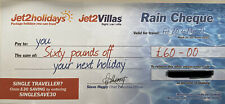 1 X New Jet2Holidays £60 Rain Cheque voucher Promo Code (Sent in Message)