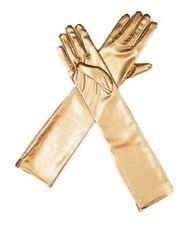 Encan Womens Shiny Liquid Metallic Long Gloves One Size New yellow