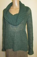 Guinevere Anthropologie alpaca blend green sheer sweater huge cowl neck sz M