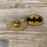 Vintage PAIR of DC Comics 1964 Batman Bat Signal Metal Enamel Lapel Pins