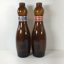New listing Lot Of 2 Vtg Budweiser/Bud Light Beer Bottles Abc Bowling Pin Collectible