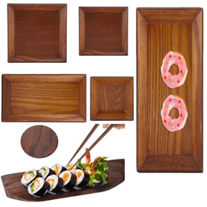 Wooden Serving Plate Dumplings Sushi Dish Plate Wood  /Oblong Serving Tray New