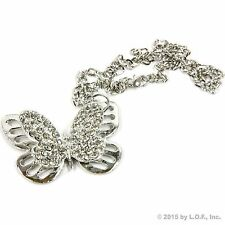 Silver Bling Butterfly Rear View Mirror Car Charm Ornament Clear Rhinestones