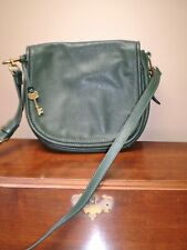 VINTAGE FOSSIL 100% HUNTER GREEN CROSSBODY HANDBAG EXCELLENT CONDITION - READ