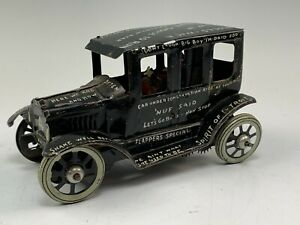 Antique Marx Leaping Lizzie Lithographed Tin Wind-Up Jalopy Car w/ Sayings