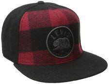 """Levi`embroidered """"Oso"""" broche trasero gorro Gorra de Béisbol. Negro y Rojo, un Tamaño Nuevo"""