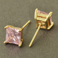 Fashion womens Cute Pink crystal Square lucky Stud Earrings ear Gold Filled lot