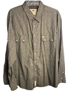 Larry Mahan Cowboy Mens Pearl Snap Shirt 4XL Brown