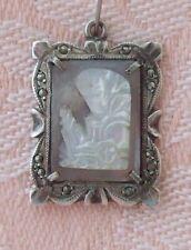 Vintage CARVED SHELL CAMEO ~ ORNATE FRAME ~ MARCASITES ~ Sterling Charm, Pendant