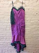 Vtg Purple & Green Sheath Gown Lace Gloves Jessica McClintock Saloon Girl EC