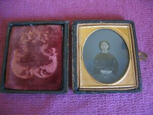 """Antique Victorian Ambrotype Photo Portrait of Seated Young Lady Frame 3¼"""" x 3¾"""
