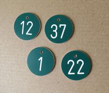 30 Stück PVC Zahlenmarken Ziffernschilder  Kunststoff Ronden Ø 30mm grün / weiß