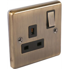 UEP W06ab Windsor Range 1 Gang Single Socket 13a Antique Brass Black Insert