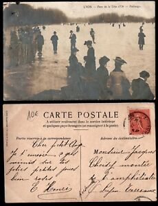 Carte Postale Ancienne : Patinage au Parc de la Tête d'Or à LYON / Lot France