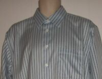 Pronto Uomo Men's 16.5/34 Blue Stripe Fitted Non Iron Long Sleeved Dress Shirt