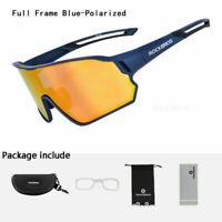 ROCKBROS Polarized Cycling Glasses Full Frame Sport Sunglasses Goggles Navy Blue