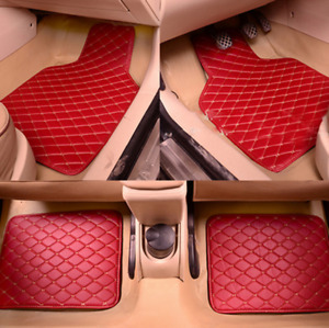 4Pcs Red PU Leather 5-seat Car Floor Mats Liner Auto Front&Rear Carpet Mat Set