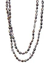 "NECKLACE N93 Classic 52"" Baroque Silver FRESHWATER PEARLS"