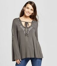 Women's Embroidered Bell Sleeve Knit Top Knox Rose Charcoal S NWT Gray Casual