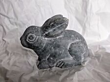 "Tianjin Stone & Wood Carvings carved Gray Rabbit Figurine, China, 6"" x 4"", VGUC"