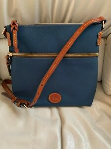 NWT Dooney and Bourke Nylon Crossbody Navy Blue, Leather Trim, Dust Cover, $129